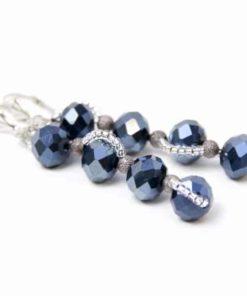 Lange Glasschliffperlen Ohrringe in Schwarzblau