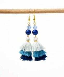 Lange blaue Quasten Ohrringe