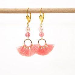 Lange Quasten Ohrringe in coral rosa
