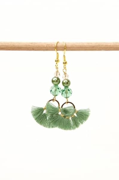 Lange Quasten Ohrringe in grün