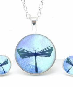 Set Kette mit Ohrringen blaue Libelle