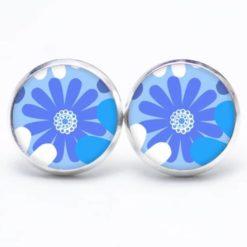 Druckknopf / Ohrstecker / Ohrhänger große blaue Blume