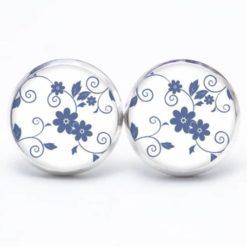 Druckknopf / Ohrstecker / Ohrhänger blaue Blumen auf weißem Hintergrund