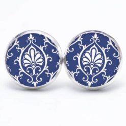 Druckknopf Ohrstecker Ohrhänger blau weißes Mandala Muster