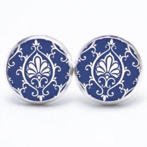 Druckknopf / Ohrstecker / Ohrhänger blau weißes Mandala