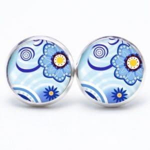 Druckknopf / Ohrstecker / Ohrhänger blaue Blumen