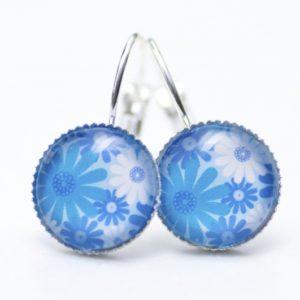 Druckknopf / Ohrstecker / Ohrhänger blaues Blumenmeer
