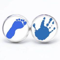 Druckknopf Ohrstecker Ohrhänger Hand und Fuss in blau
