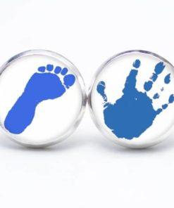 Druckknopf / Ohrstecker / Ohrhänger Hand und Fuss in blau