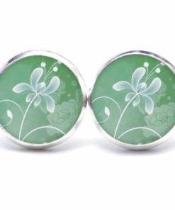 Druckknopf / Ohrstecker / Ohrhänger mit einer zarten blume in grün/weiß