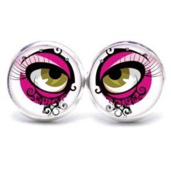 Druckknopf Ohrstecker Ohrhänger braune Augen in Pink