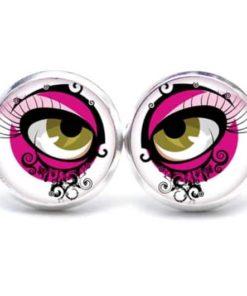 Druckknopf / Ohrstecker / Ohrhänger braune Augen in Pink