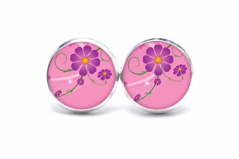 Druckknopf / Ohrstecker / Ohrhänger in Pink mit violeter Blume