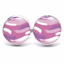 Druckknopf Ohrstecker Ohrhänger camouflage violett rosa weiß gemustert
