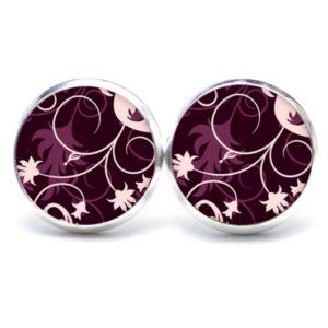 Druckknopf / Ohrstecker / Ohrhänger violette Blumenranken