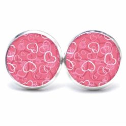 Druckknopf Ohrstecker Ohrhänger viele rosa Herzen