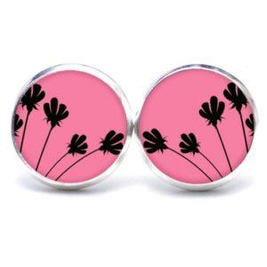 Druckknopf / Ohrstecker / Ohrhänger rosa mit schwarzen zarten Blumen