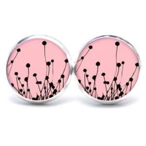 Druckknopf / Ohrstecker / Ohrhänger rosa abstrakte Blumen