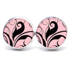 Druckknopf / Ohrstecker / Ohrhänger floral schwarz und rosa