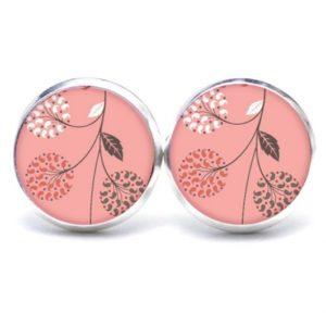 Druckknopf / Ohrstecker / Ohrhänger zart rosa Blumen