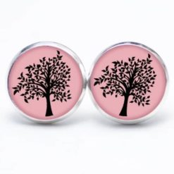 Druckknopf / Ohrstecker / Ohrhänger rosa mit schwarzem Baum