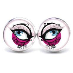 Druckknopf Ohrstecker Ohrhänger blaue Augen in Pink
