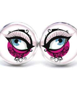 Druckknopf / Ohrstecker / Ohrhänger blaue Augen in Pink