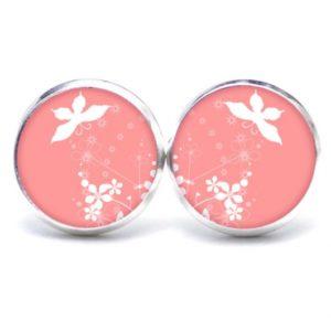 Druckknopf / Ohrstecker / Ohrhänger fliegender Schmetterling in rosa
