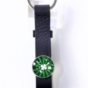 Schlüsselanhänger Leder schwarz Kleeblatt Glücksbringer