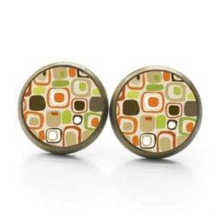 Ohrstecker / Ohrhänger Vintage 60er Jahre Retro Quadratische Formen braun grün orange