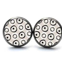 Druckknopf / Ohrstecker / Ohrhänger Vintage 60er Jahre Retro Kreise runde Formen in schwarz, weiß und beige