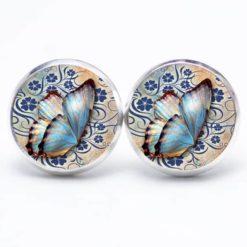 Druckknopf Ohrstecker Ohrhänger blauer Schmetterling