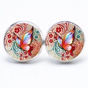 Ohrstecker / Ohrhänger rot oranger Schmetterling