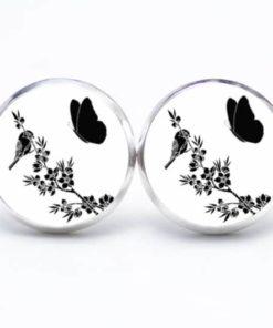 Druckknopf / Ohrstecker / Ohrhänger schwarz und weiß Schmetterling mit Vogel
