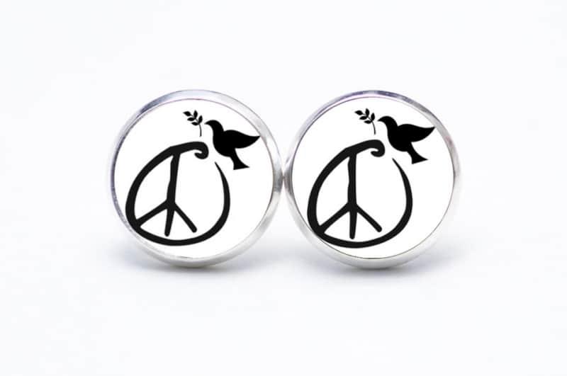 Druckknopf / Ohrstecker / Ohrhänger schwarz und weiß Friedens Taube