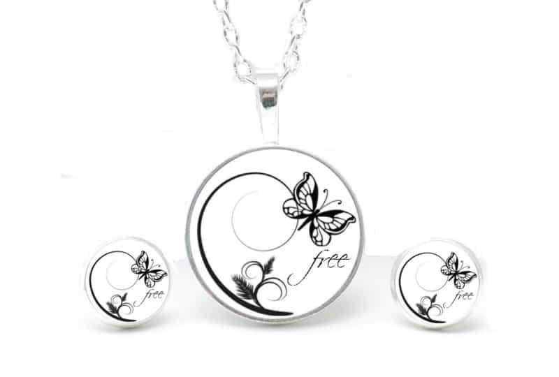 Set Kette mit Ohrringen schwarz & weiß Schmetterling Free