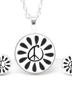 Set Kette mit Ohrringen schwarz & weiß Peace