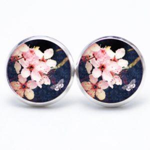 Druckknopf / Ohrstecker / Ohrhänger rosa Orchideen Frühling Dunkelblau