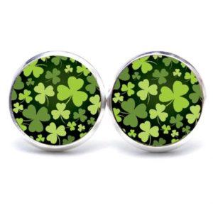 Druckknopf / Ohrstecker / Ohrhänger Kleeblatt grün schwarz St Patricks Day