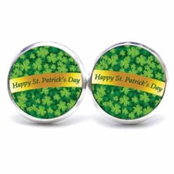 Druckknopf / Ohrstecker / Ohrhänger Kleeblatt grün mit St Patricks Day Schleife
