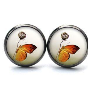 Druckknopf / Ohrstecker / Ohrhänger Schmetterling mit Blume