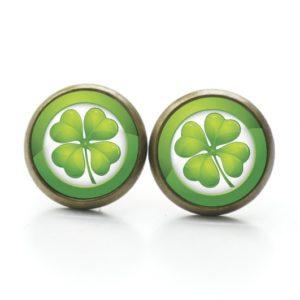 Druckknopf / Ohrstecker / Ohrhänger großes 4 blättriges Kleeblatt grün St Patricks Day