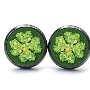 Druckknopf / Ohrstecker / Ohrhänger großes 4 blättriges Kleeblatt grün mit Münze