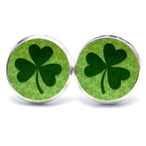 Druckknopf / Ohrstecker / Ohrhänger großes Kleeblatt grün St Patricks Day