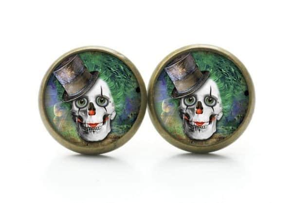 Druckknopf / Ohrstecker / Ohrhänger Clown Totenkopf
