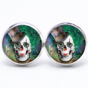 Ohrstecker / Creolen Clown Totenkopf