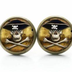 Druckknopf Ohrstecker Ohrhänger Piraten Totenkopf