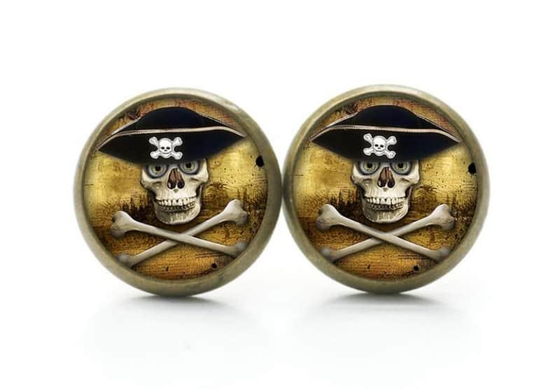 Druckknopf / Ohrstecker / Ohrhänger Piraten Totenkopf
