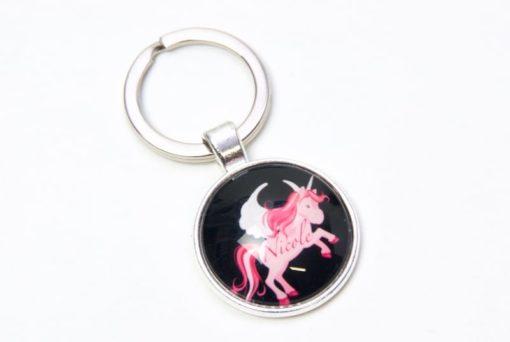 Schlüsselanhänger pinkes Einhorn mit Namen