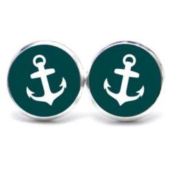 Druckknopf / Ohrstecker / Ohrhänger Anker maritim Meer emerald weiß